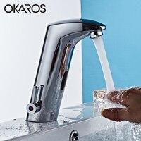OKAROS Basin Sense Faucet Bathroom Ceramic Faucet Automatic Infrared Sensor Chrome Finshed Water Mixer Tap Torneira