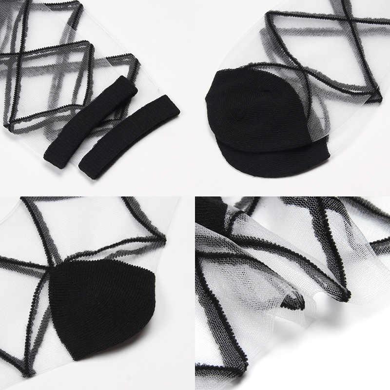 Женские шелковые кружевные прозрачные носки, черно-белые сетчатые носки 2019, летние модные эластичные тонкие женские носки, прозрачные Чулочные изделия