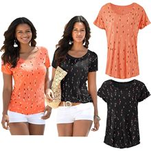 S-2XL women o neck short sleeve t shirt tops lady casual leisure t-shirt sweet holiday