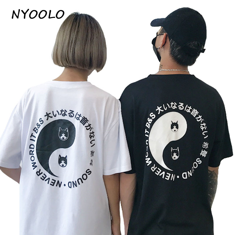 ad4369af NYOOLO Novelty design 2018 summer Full body letters print hip hop short  sleeve shirt women cloth tops fashion streetwear