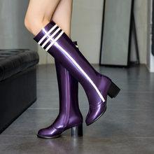400e60c1b PXELENA Design Patente Couro Joelho Botas Altas Das Mulheres Dedo Do Pé  Redondo Zip Lado Quadrado de Salto Alto Botas de Montari.