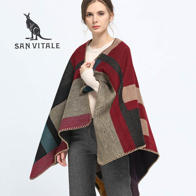 6c8318befe2ce SAN VITALE Women Shawls Stoles Winter Warm Scarf Luxury Brand Soft Fashion  Thicken Plaid Wraps Wool Cashmere Scarves for Women-in Women's Scarves from  ...
