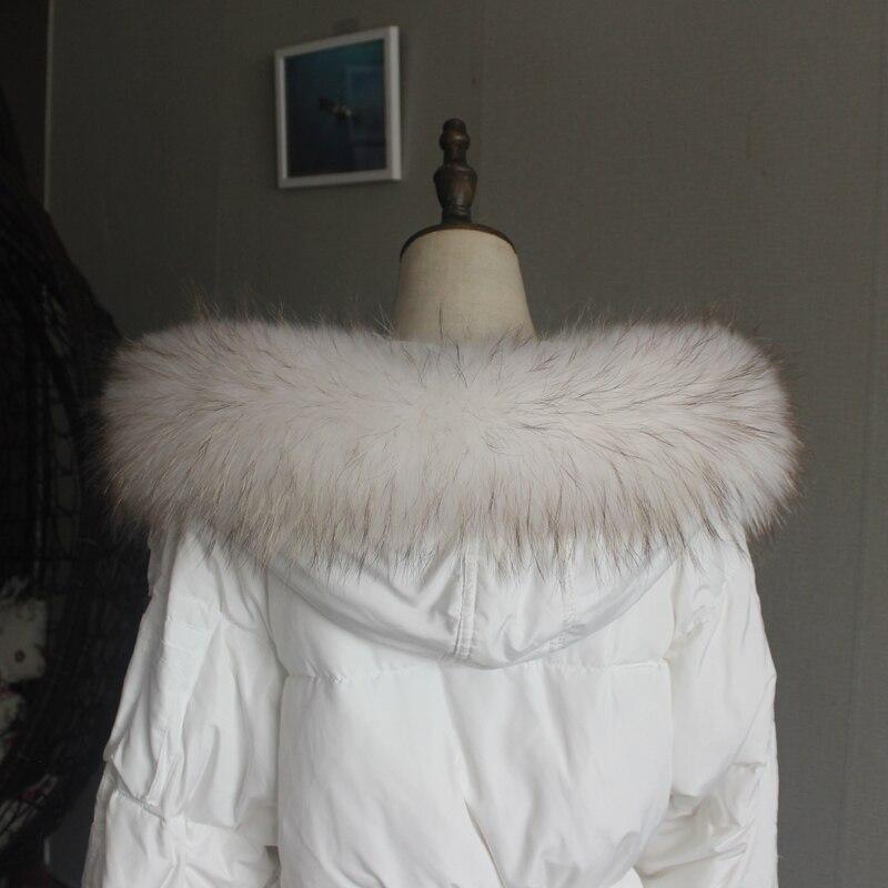 Зимняя куртка из натурального меха, воротник из натурального меха енота, женские шарфы, пальто, женская шапка, длинный теплый шарф из натурального меха, большой размер - Цвет: creamy-white