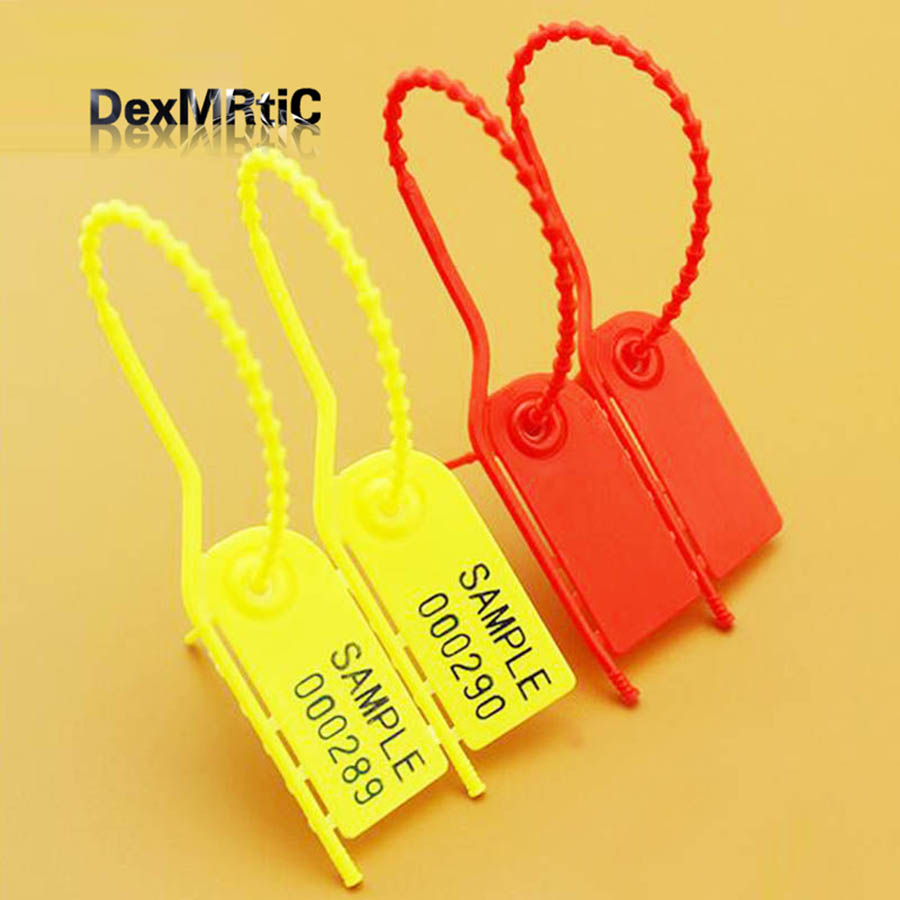 40pcs disposable plastic seals rip by hand cable tie padlock buckle anti theft logistics 210mm
