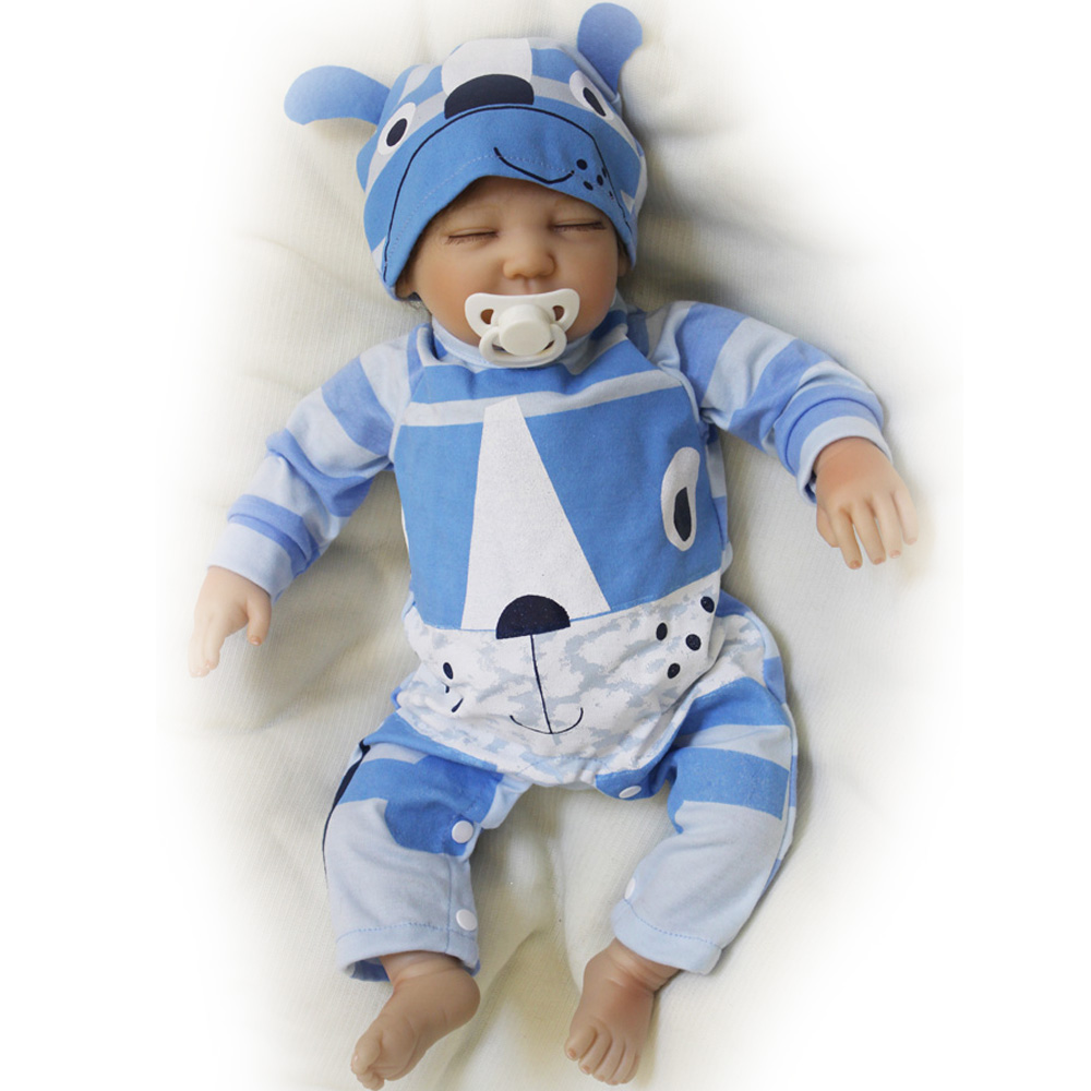 50-55CM Silicone Doll Reborn Baby Boy Lovely cute realistic Handmade Cloth Body Dolls Toys Growth Partners Best Gift for kids 55 cm silicone reborn handmade cotton body boy dolls realistic baby doll silicone reborn kids toys juguetes brinquedos