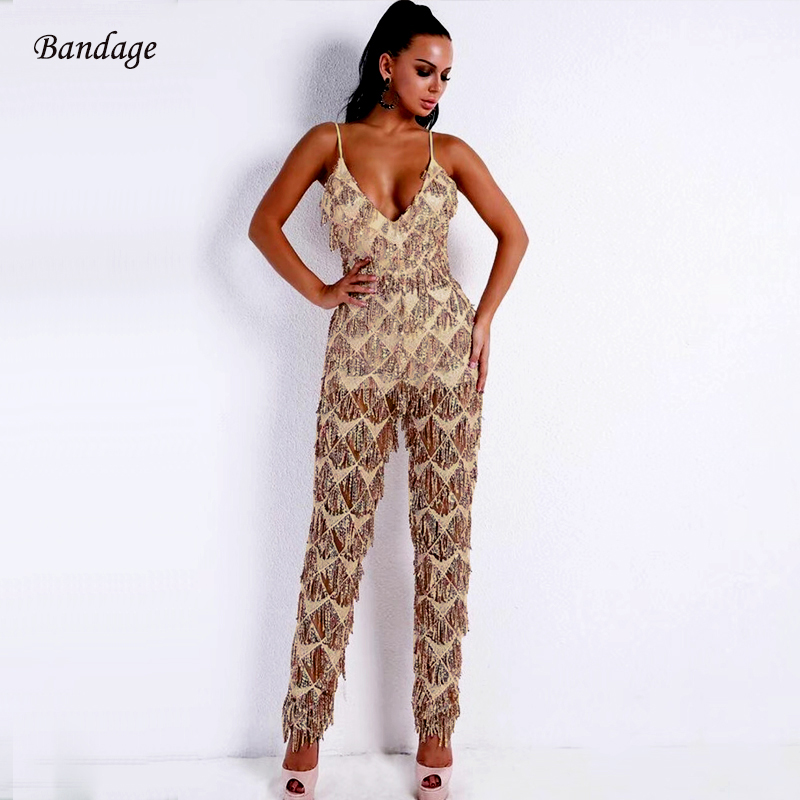 2018 Sexy Spaghetti Strap Glitter Jumpsuits Lady Fashion Prom Sequined Shining Mesh Women Outfit Nightclub Party Summer Jumpsuit