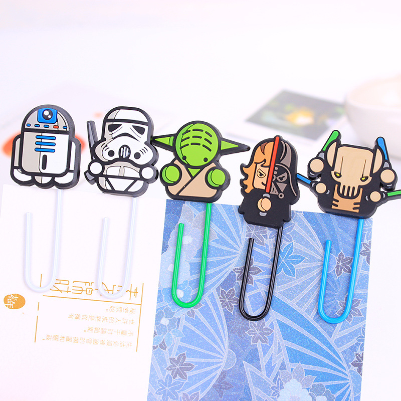 6Pcs/lot Star Wars  Kawaii Cartoon Characters Paper Clip Bookmark Promotional