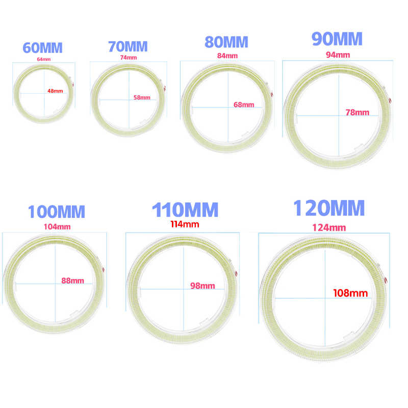 TPTOB 2 pcs Daytime Running Headlight Lamp Car Angel Eyes Led Halo Ring Headlight DRL 12V 60MM 70MM 80MM 90MM 100MM 110MM 120MM