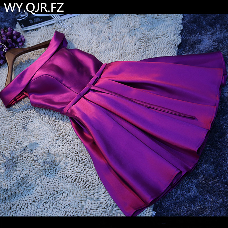 LBHS69Z#Boat Neck Violet Lace Up Short Twill Satin Cloth Bridesmaid Dresses Bride Wedding Party Toast Dress Gown Prom Wholesale