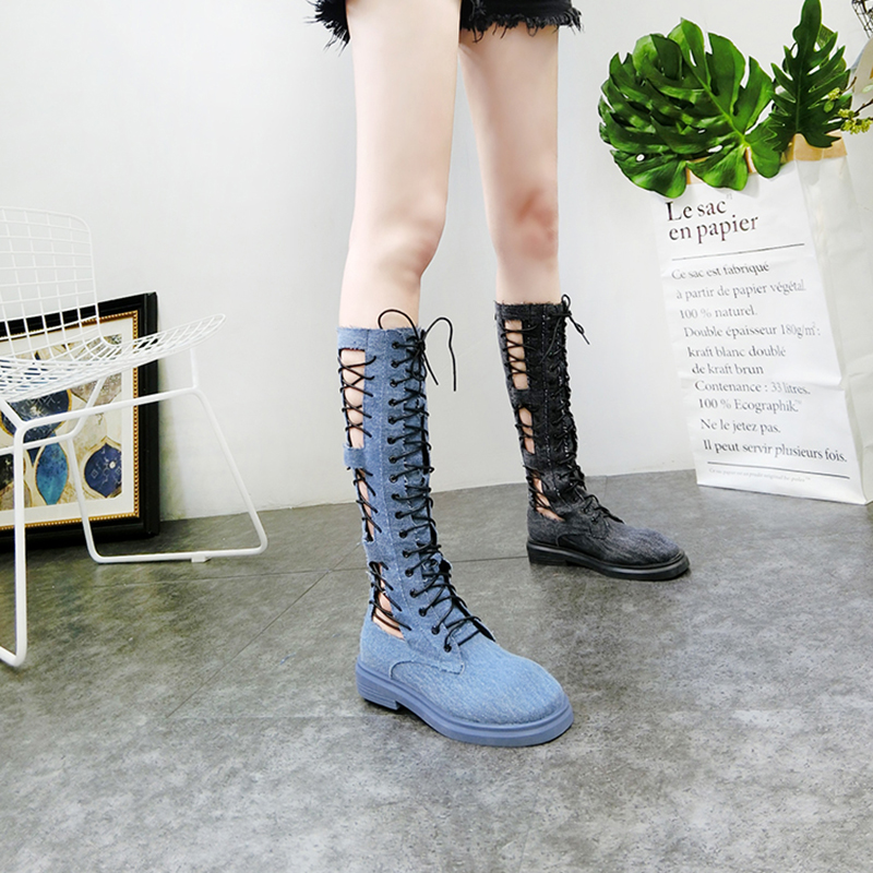 Women s High Boots 2019 Summer Denim Casual Lace Up High Boots For Woman Fashion Hollow
