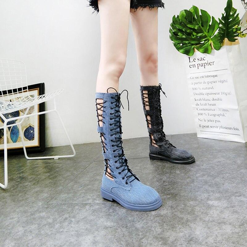 Botas altas de mezclilla de verano 2019 para mujer botas altas informales con cordones para mujer zapatos de mujer-in Botas por la rodilla from zapatos    1
