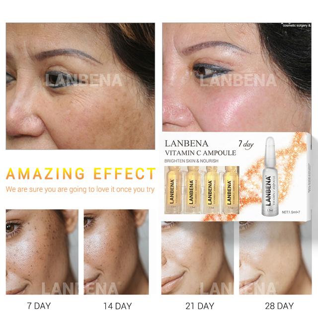 LANBENA Ampoule Serum Hyaluronic Acid+Vitamin C+24K Gold Retinol +Q10+Ceramide Anti-Aging Wrinkle Moisturizing Beauty For 7 Days