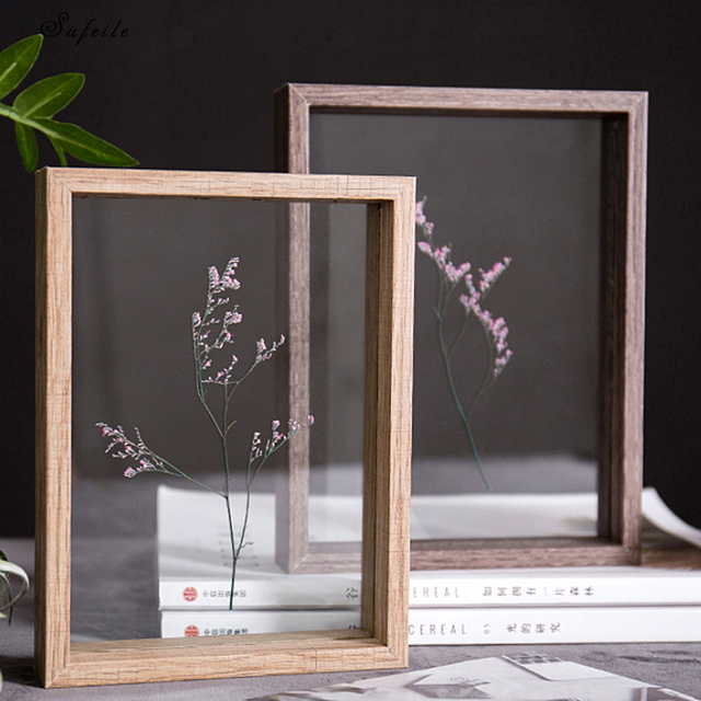 SUFEILE HD glass specimen photo frame DIY plant specimen photo frame Wooden creative decorative frame 10 inch / 8 inch D50