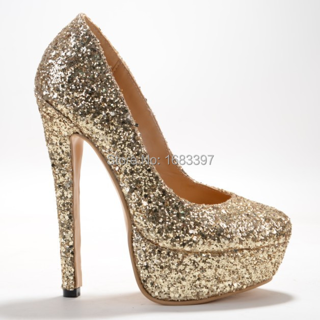 Glitter Silver Solid Women High Heels Plus Size Fashion Style Slip