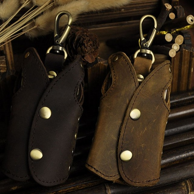 Brand Vintage 100% Genuine Crazy Horse Leather Cowhide Men Car Key Wallet Wallets Holder Holders Bag Case Housekeeper For Man