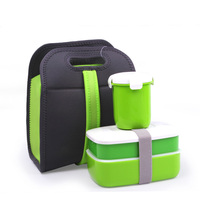 Fashion Double Portable Picnic Lunchbox Microwave Heating Box Simple Plastic Lid Chopstick Spoon Plate Flatware Set