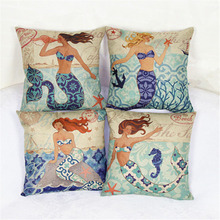 Marine Style Cushion Cover Mermaid Pattern 18x18 inches Cotton Linen Pillowcase Waist Throw font b Pillow