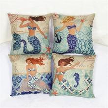 Marine Style Cushion Cover Mermaid Pattern 18×18 inches Cotton Linen Pillowcase Waist Throw Pillow Cover