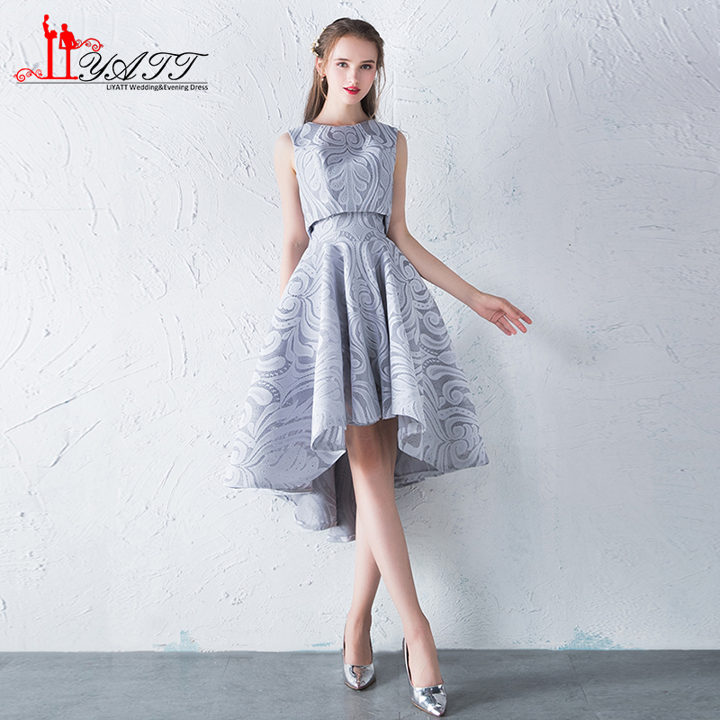 New Cheap In Stock Silver Lace High Low Prom Dresses Tea