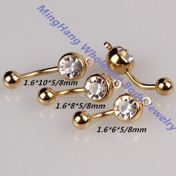 Mixeds 3 גודל אנכי חישוק להוסיף משלך קסם בטן טבעת פירסינג תכשיטי זהב צבעים טבור טבעת 30 יח'\חבילה