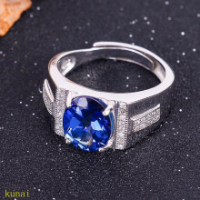 KJJEAXCMY fine jewelry 925  Silver inlaid with natural tanzanite women's ring jewelry 2 color optional.ghbn tbj romantic small ring with natural good color blue tanzanite gemstone girl ring in 925 sterling silver fine jewelry for women