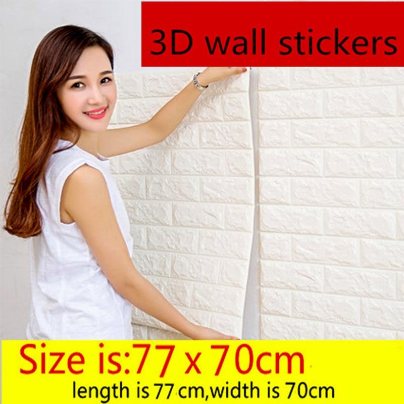 Купить с кэшбэком 3d wallpaper stereo self-adhesive background wall brick pattern living room bedroom decoration stickers