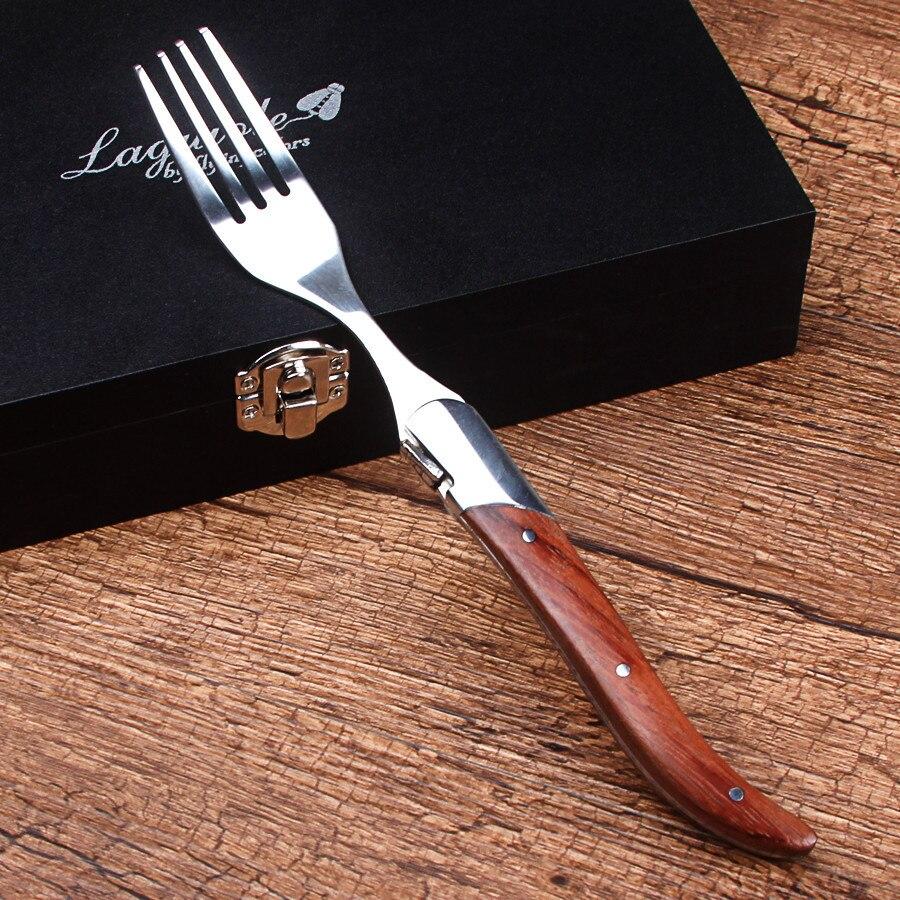 Новый 6 шт Стиль laguiole набор вилок для стейка столовые ножи с ручкой из палисандра набор столовых приборов в подарочной коробке