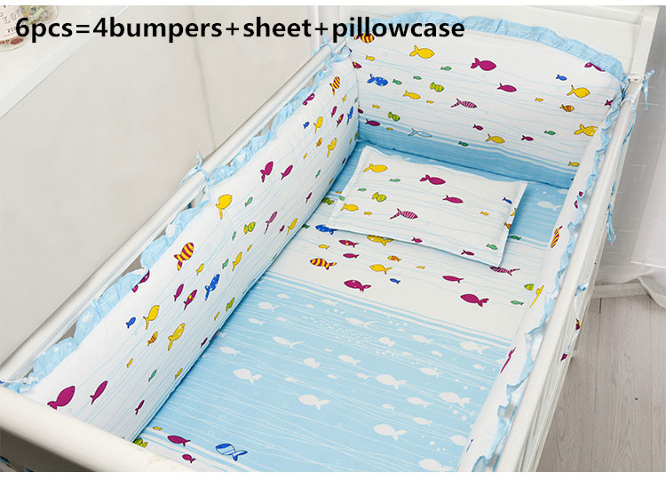 Promotion! 6/7PCS 100% Cotton Baby Bed Sheet Newborn Cartoon Crib Soft Cot Bed Linen ,Du ...