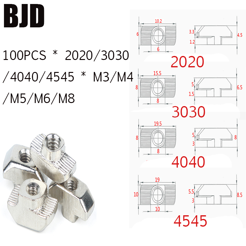 50Pcs/100Pcs M3/M4/M5*10*6 For 20 Series Slot T-nut Sliding T Nut Hammer Drop In Fasten Connector 2020 Aluminum Extrusions HW109