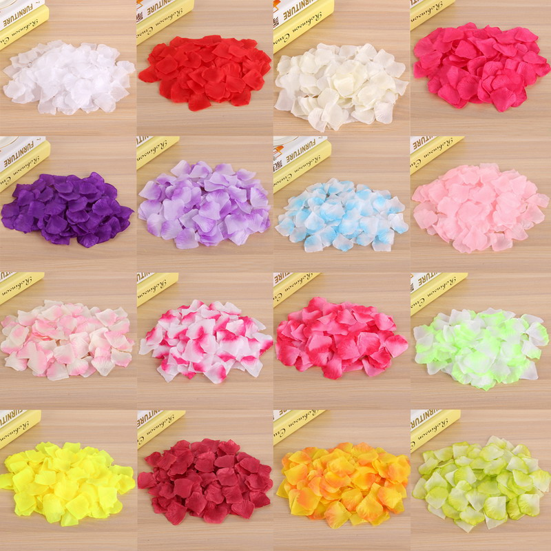 firlar 1000PcsSet Artificial Silk Wedding Decor Petals