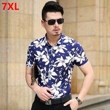 Летняя новая мужская рубашка с короткими рукавами и цветочным принтом, большие размеры XL, Повседневная рубашка в Корейском стиле хлопковый цветок, мужская рубашка tid