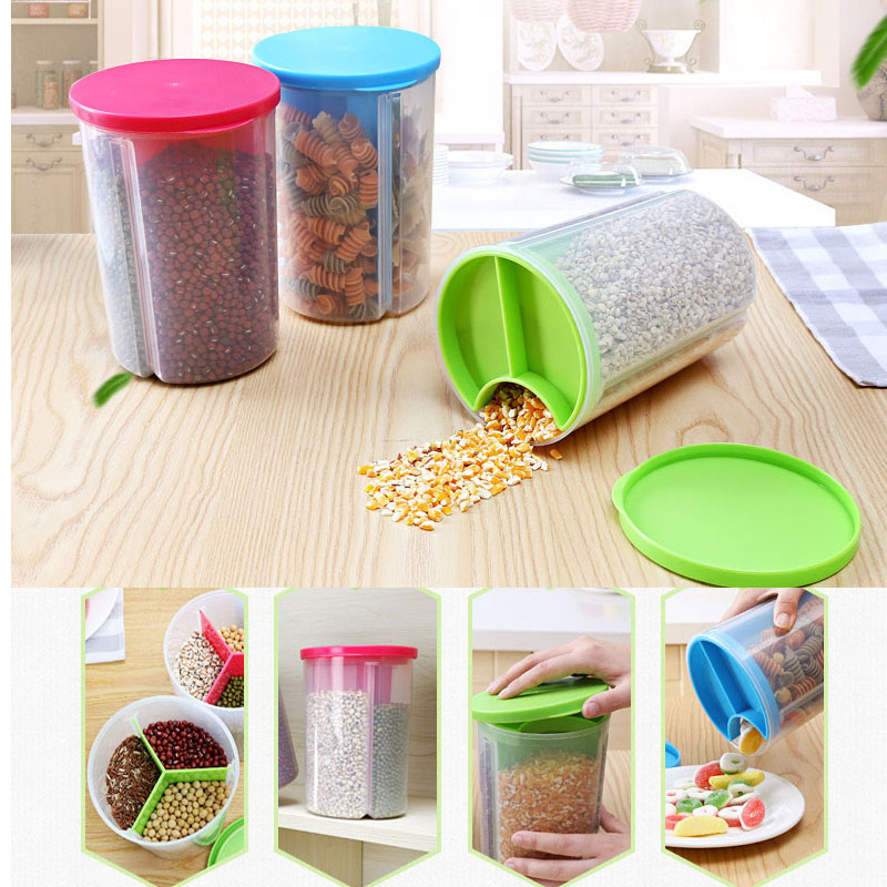 3 grid round plastic food containers kitchen storage box sealed jar with lid openings crisper refrigerator fruit storage box-in Storage Bottles u0026 Jars from ...  sc 1 st  AliExpress.com & 3 grid round plastic food containers kitchen storage box sealed jar ...