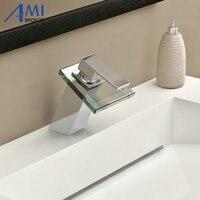 Bathroom sink basin mixer tap chromed brass glass waterfall Faucet BF 25