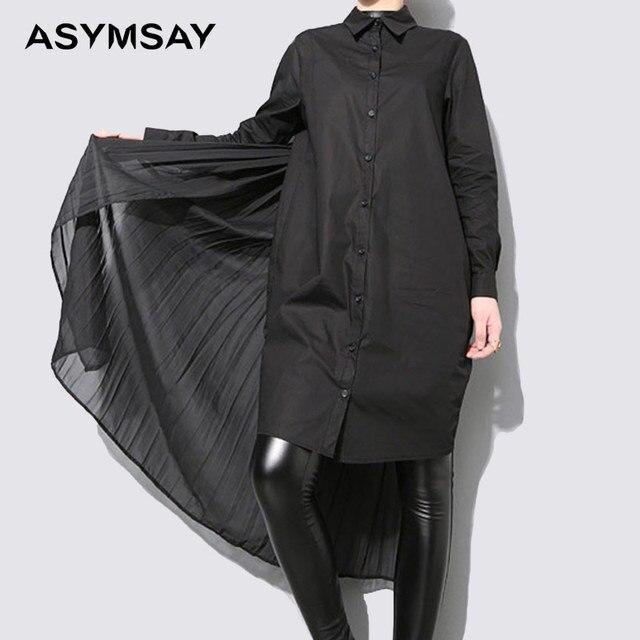 3a0cbfba0ece2 shirts with long tails short front long back top oversized boyfriend shirt  dress women long sleeve