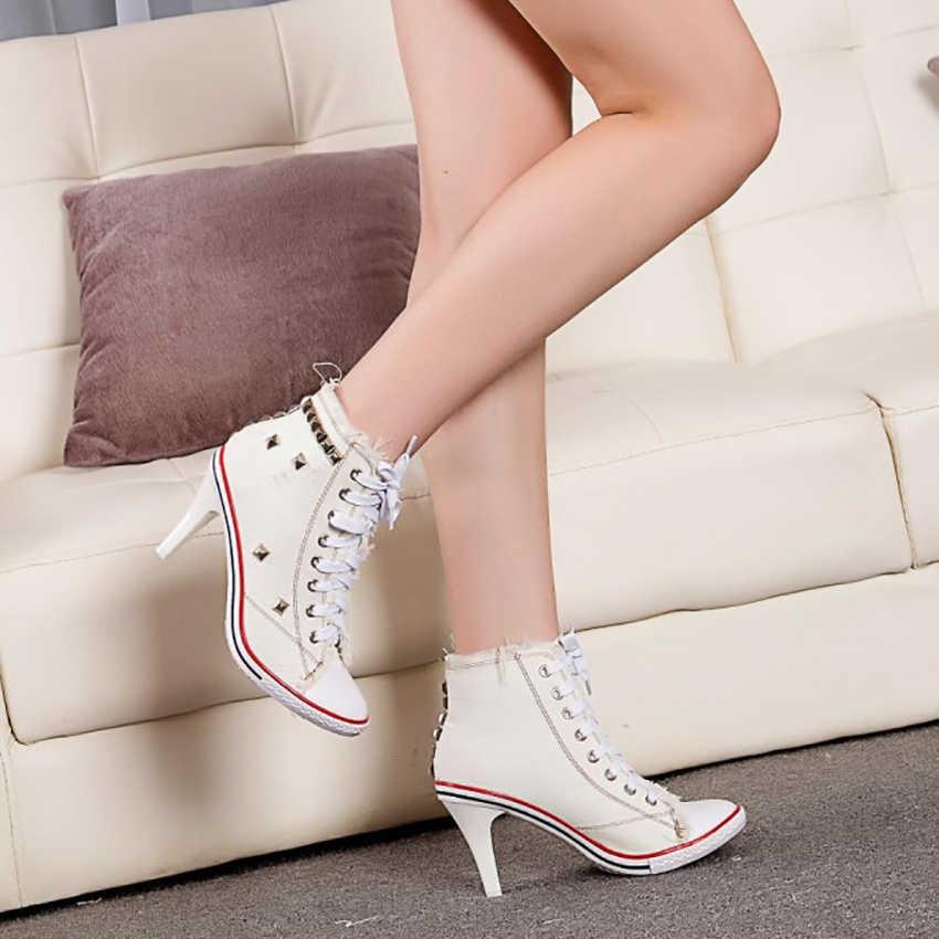 2019 ใหม่ผู้หญิงผ้าใบ Denim ผ้ารองเท้าส้นสูง Rivets รองเท้ารองเท้าแฟชั่น Laces รองเท้าผ้าใบเสือดาวผู้หญิงรองเท้าสั้น