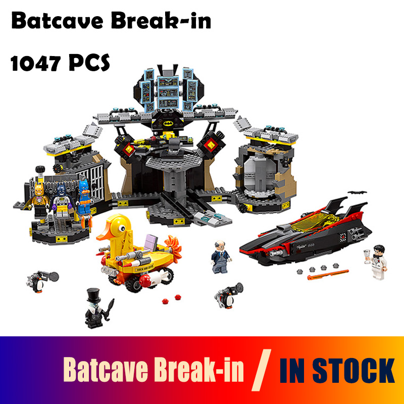 Compatible with Lego batman 70909 07052 super heroes movie blocks Batcave Break-in toys for children building blocks back to the future super heroes skeleton boy doc brown and marty mcfly with skateboard building blocks toys for children kf198