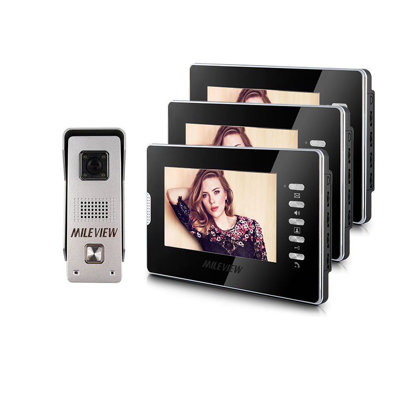 Brand New Wired 7 inch Color Video Intercom Door Phone Kit System 3 Monitor + 1 Waterproof Outdoor Camera In Stock FREE SHIPPING free shipping wired new 9 inch tft lcd monitor video door phone intercom system with 1 night vision outdoor camera in stock
