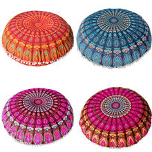 Large 80*80cm Mandala Floor Pillows Bohemian Meditation Cushion Cover Round Pouf Retro Boho Tapestry Cover Cases#20(China)