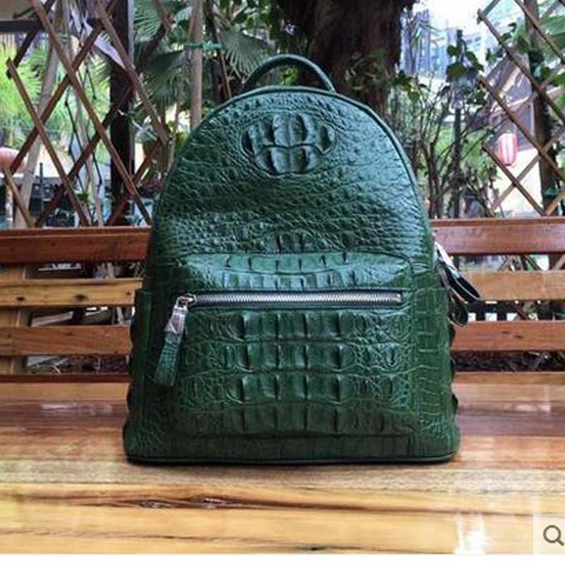 yongliang new authentic old crocodile skin double shoulder bag, men and women, general European and American fashion Backpack old and new terrorism