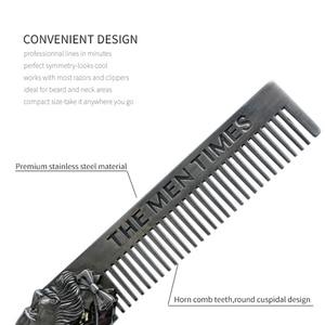 Image 5 - High Quality Cool Men Beard Shaping Template Stainless Steel Beard Comb Men Hair Beard Trim Tool