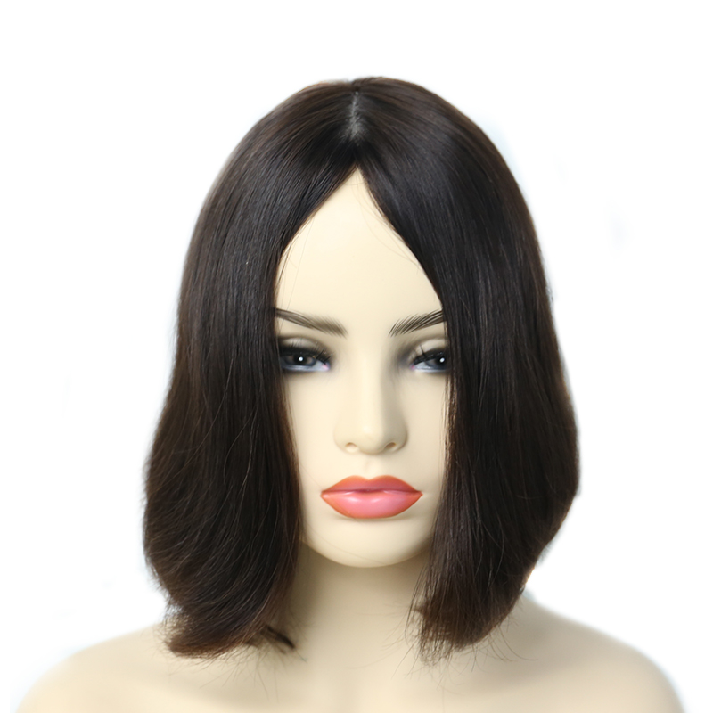 Silk Base Jewish Wigs Bob Kosher Wigs Double Drawn European Human Hair Wigs 150 Density Color #4 You May Remy Full Ends