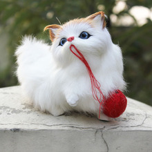 White Sythetic Fur Furry Animal Cat Figurine