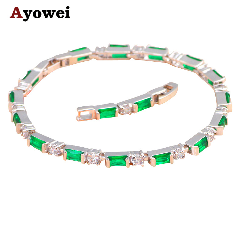 Aliexpress Lowest price Deep Green Crytal Inlay Silver Peridot Fashion jewelry Party & Dinner Charm Bracelets TBS780A