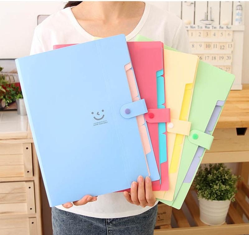 Korea Stationery Smile Folder Document Bag Paper Organizer Expanding Wallet