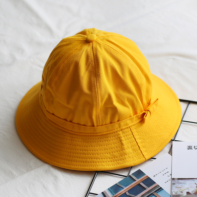 Cute yellow bucket hat Girl's Simple style sun hat