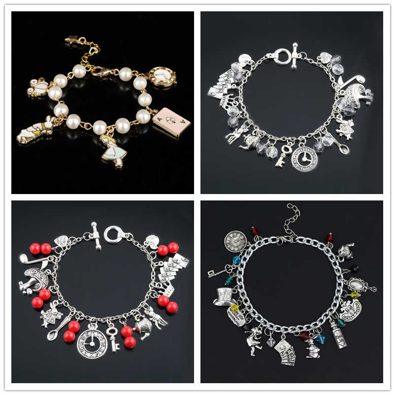 Women DIY Charm Jewelry Crystal Pendants Bracelets Alice In Wonderland Bangle a Bracelet Cosplay Wristband Pendant Accessories