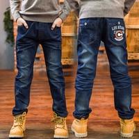 Moda Cotton Jeans dla Boy 2018 Nowych Liter Drukarskich wzór Elastyczny Pas Spodnie Jeansy Dla Dzieci Koreański Styl dla Chłopca 3j005