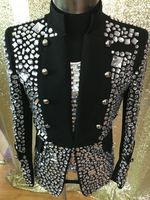 Plus Size Costomized Men's Black Crystal Jacket Ds Dj Male Singer Dancer Performance Outerwear Costume Rhinestone Jacket Outfit