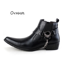 OVXUAN Vintage Leather Ankle Boots Men High Top Iron Chain Eagle Buckle Strap Punk Shoes Mens Pointed Toe Military Cowboy Boots