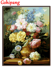 Framed picture painting by numbers canvas painting home decor paint by number modern abstract oil painting flower